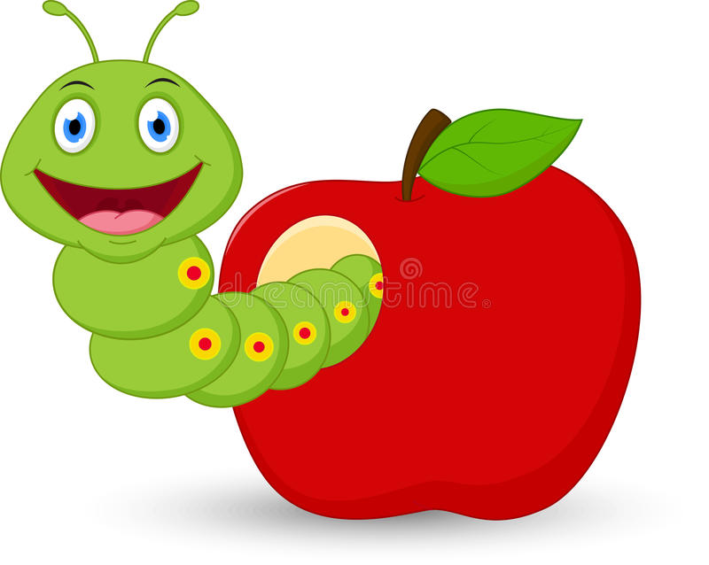 Historieta linda del gusano en la manzana libre illustration