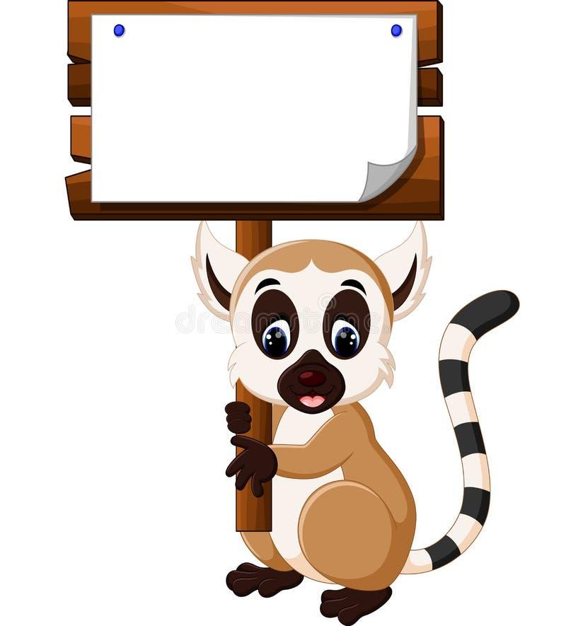 Historieta linda del lémur stock de ilustración