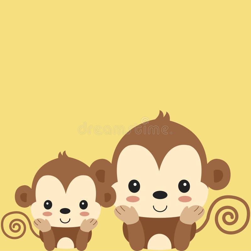 Historieta linda del mono de la mamá y del bebé libre illustration