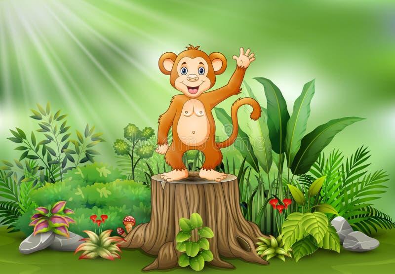 Historieta linda del mono que agita y que se coloca en tocón de árbol con las plantas verdes ilustración del vector