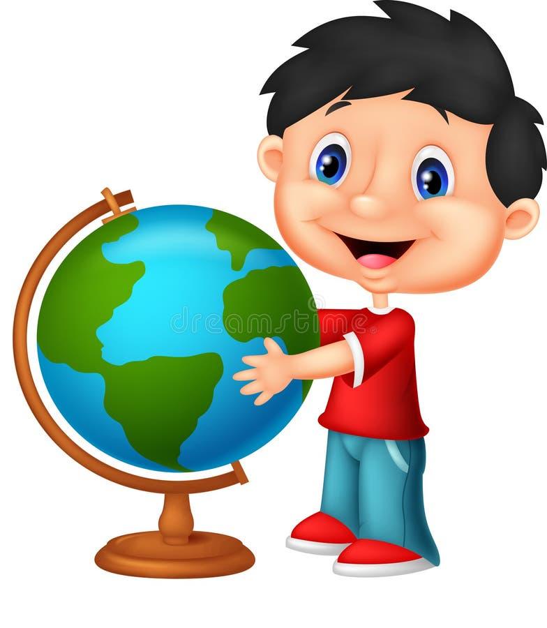 Historieta linda del muchacho que mira el globo ilustración del vector