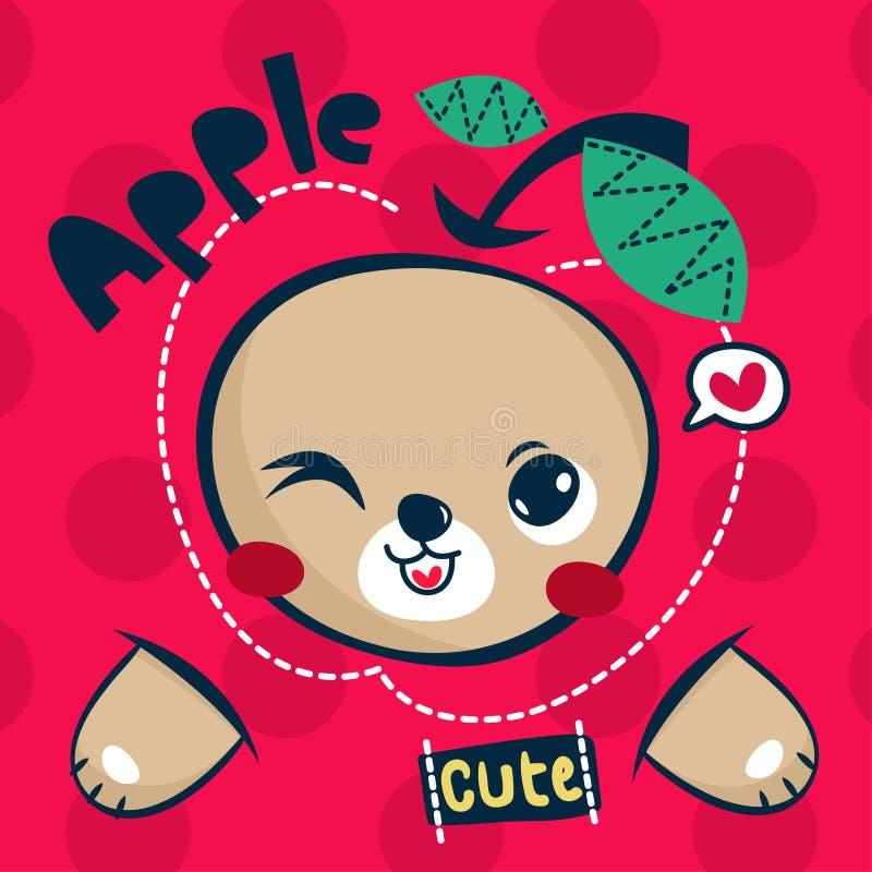 Historieta linda del oso de peluche con la manzana grande en vector del ejemplo del fondo del lunar fotos de archivo libres de regalías