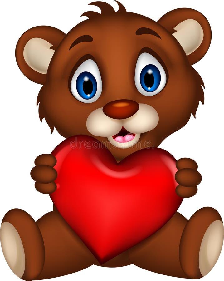 Historieta linda del oso marrón del bebé que presenta con amor del corazón stock de ilustración