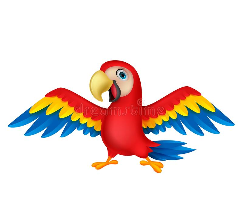 Historieta linda del pájaro del loro stock de ilustración