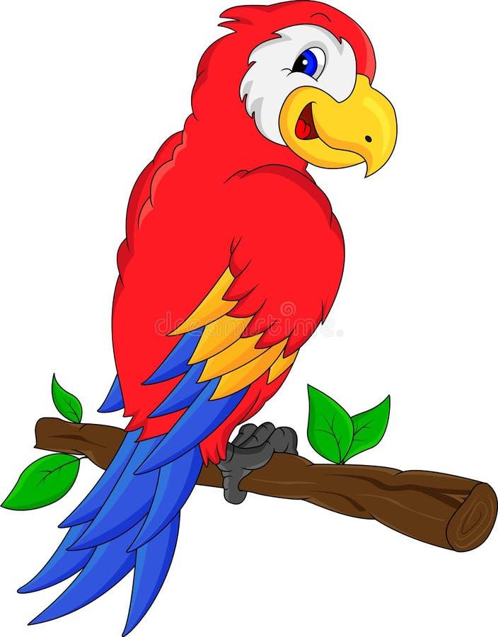 Historieta linda del pájaro del macaw ilustración del vector