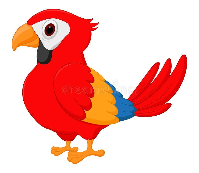 Historieta linda del pájaro del macaw stock de ilustración