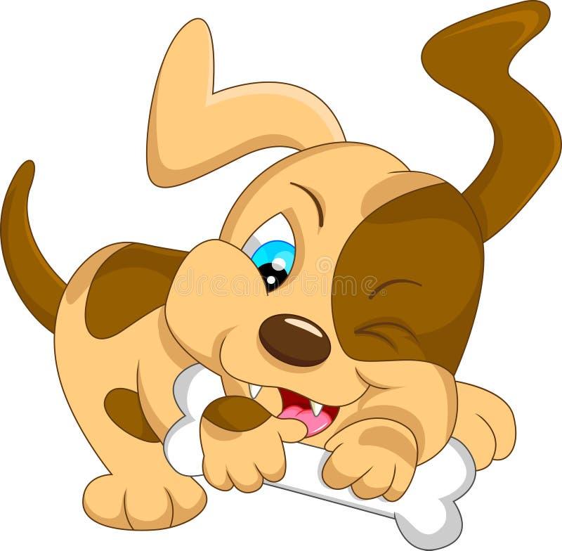 Historieta linda del perro del bebé con el hueso stock de ilustración