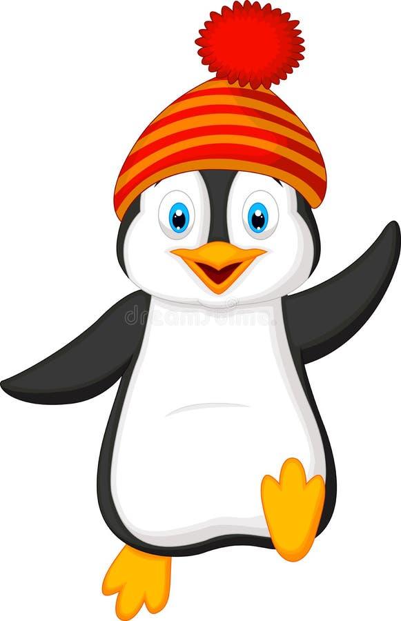 Historieta linda del pingüino que lleva el sombrero rojo stock de ilustración