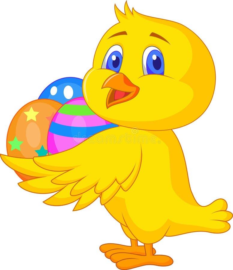 Historieta linda del pollo con el huevo de Pascua stock de ilustración