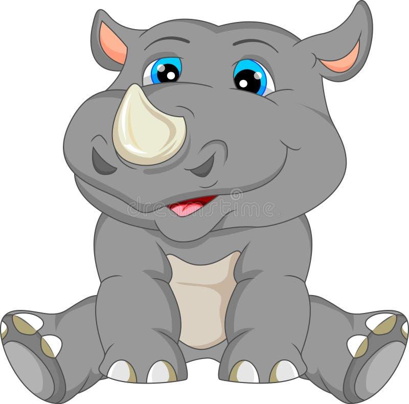 Historieta linda del rinoceronte del bebé stock de ilustración