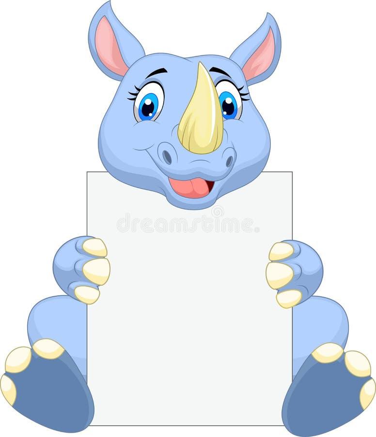 Historieta linda del rinoceronte que lleva a cabo la muestra en blanco stock de ilustración