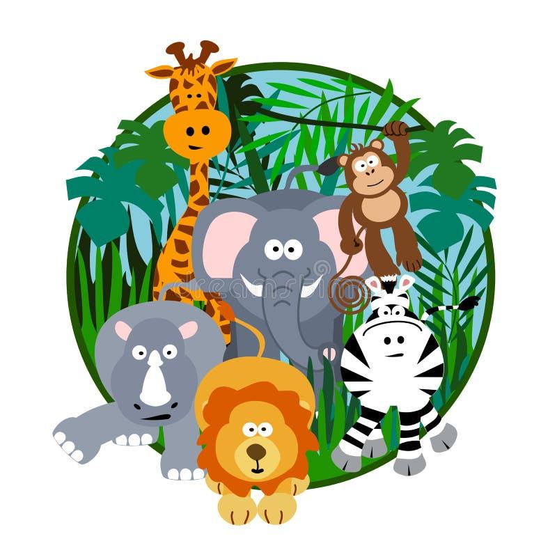 Historieta linda del safari stock de ilustración
