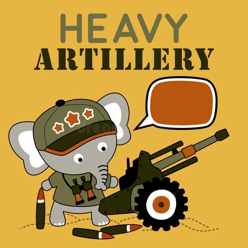 Historieta linda del soldado con la artillería pesada libre illustration