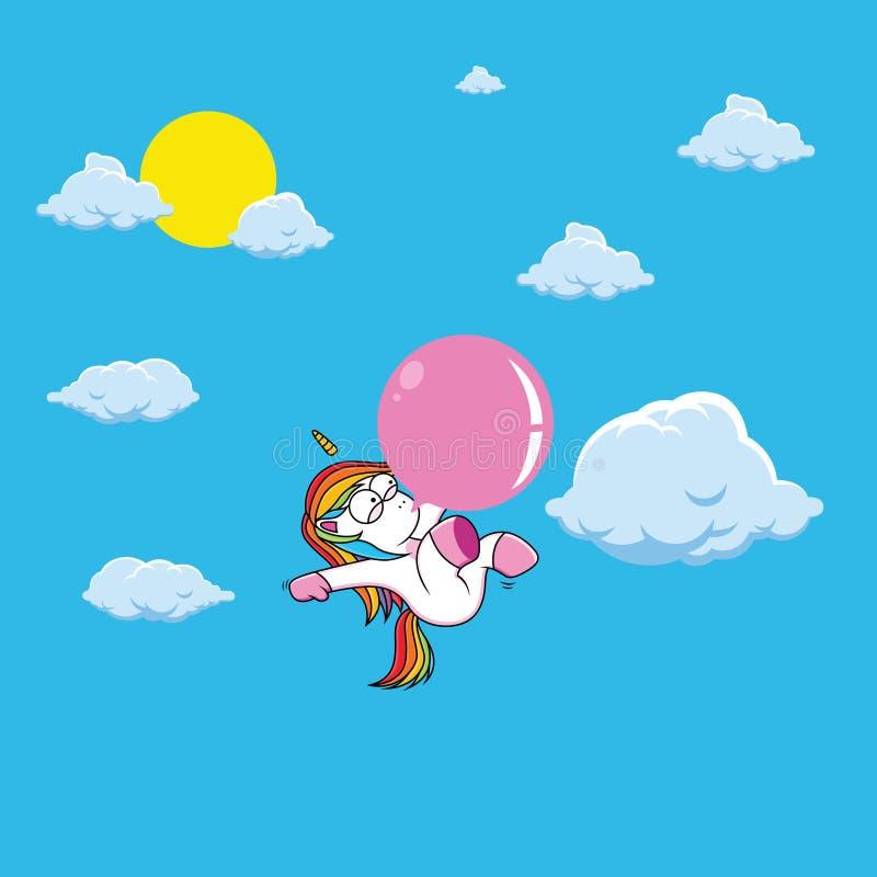 historieta linda del unicornio con la goma rosada stock de ilustración