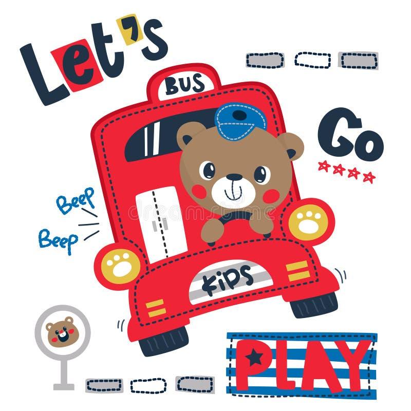 Historieta linda feliz del oso de peluche que conduce el autobús rojo imagenes de archivo