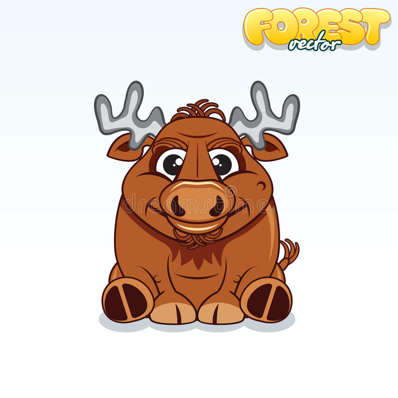Historieta linda Forest Elk Animal divertido del vector stock de ilustración