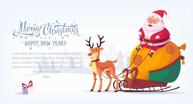 Historieta linda Santa Claus que se sienta en trineo con la bandera horizontal del ejemplo del vector de la Feliz Navidad del ren libre illustration