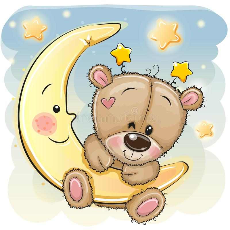 Historieta linda Teddy Bear en la luna libre illustration