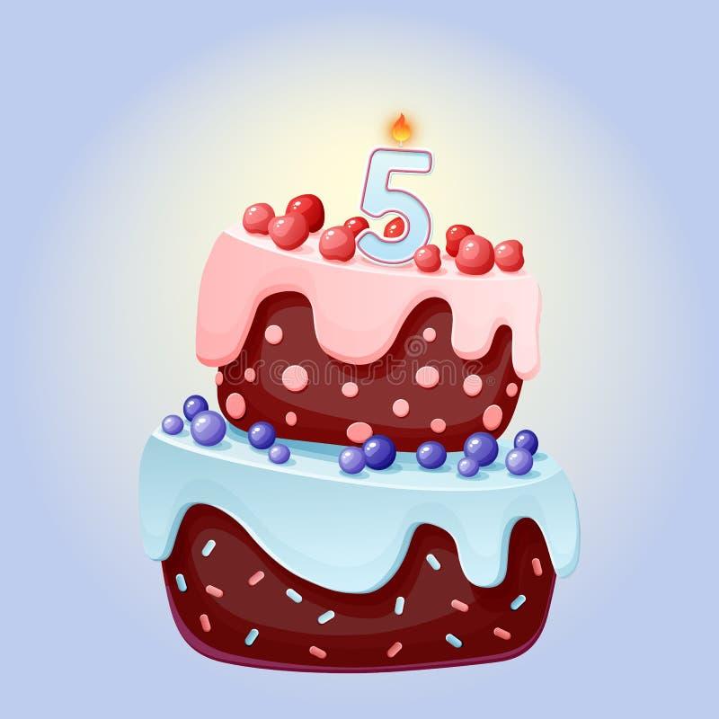 Historieta linda torta festiva del cumpleaños de 5 años con la vela número cinco Galleta del chocolate con las bayas, las cerezas stock de ilustración