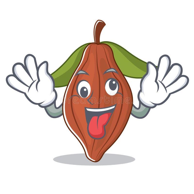 Historieta loca de la mascota de la haba del cacao stock de ilustración