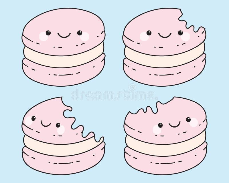 Historieta Macaron de Cuties en el fondo azul en colores pastel, colores rosados en colores pastel Ilustración del vector fotografía de archivo