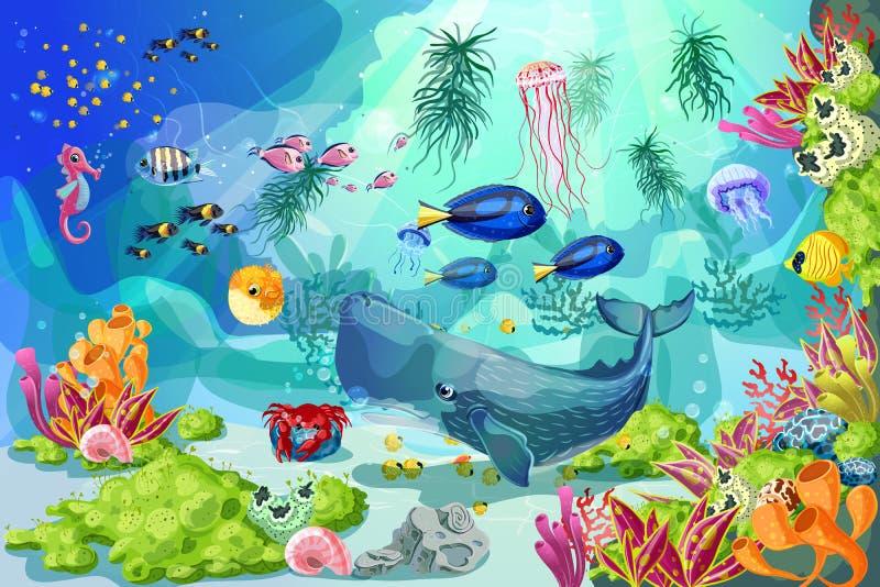 Historieta Marine Underwater Life Background colorida stock de ilustración