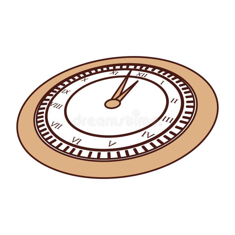 Historieta marrón linda del reloj stock de ilustración