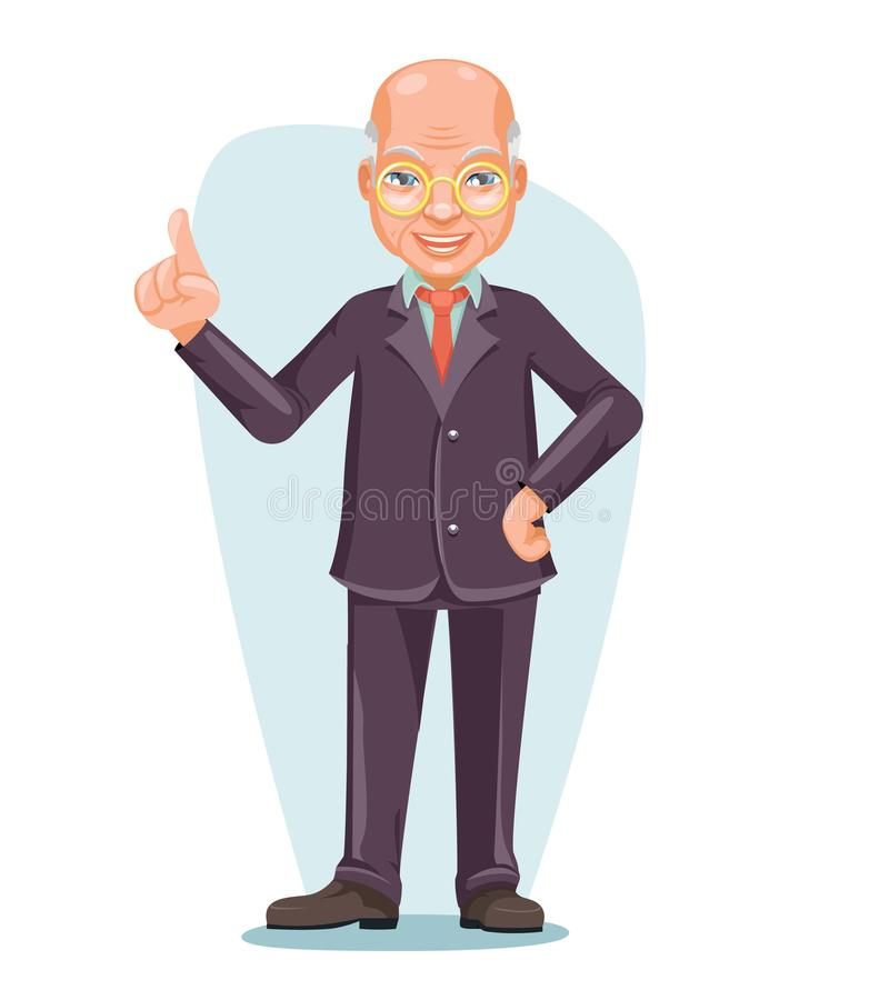 Historieta masculina de Boss Hand Forefinger Up del empleado de Chinese Japanese Vietnamese del viejo hombre de negocios asiático libre illustration