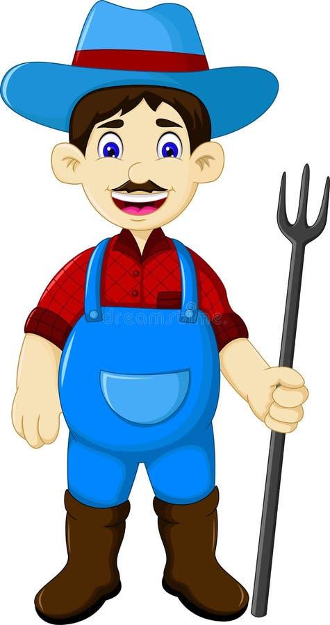 Historieta masculina divertida del granjero que sostiene el rastrillo stock de ilustración