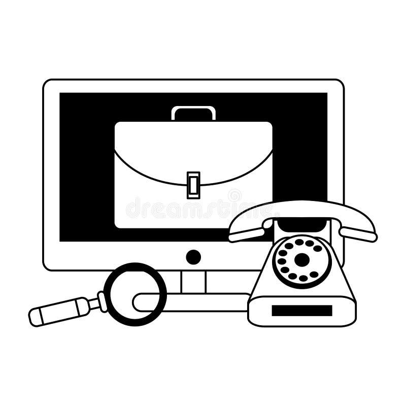 Historieta moderna digital del hardware de la tecnología en blanco y negro stock de ilustración