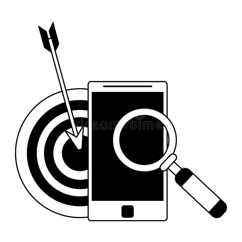 Historieta moderna digital del hardware de la tecnología en blanco y negro ilustración del vector