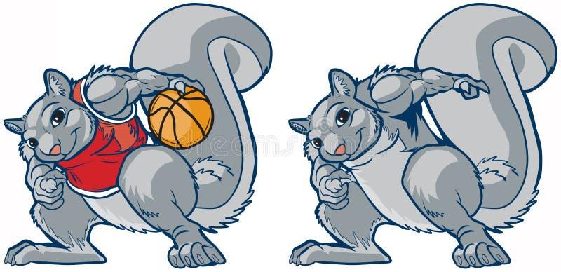 Historieta muscular del vector del jugador de básquet de la mascota de la ardilla stock de ilustración