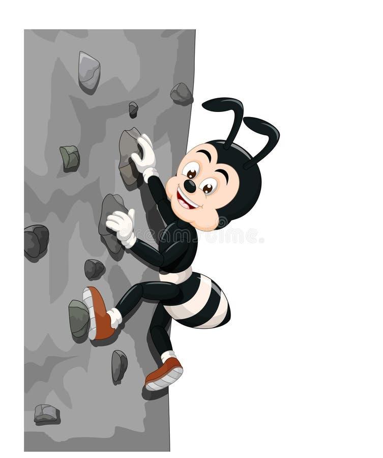 Historieta negra divertida de la pared de Ant Climbing A libre illustration