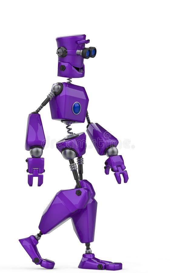 Historieta púrpura divertida del robot apenas que camina en un fondo blanco libre illustration