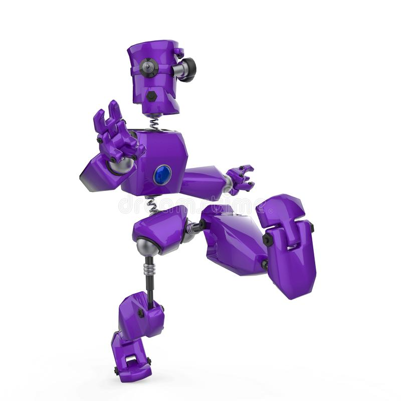 Historieta púrpura divertida del robot que golpea el aire con el pie en un fondo blanco libre illustration