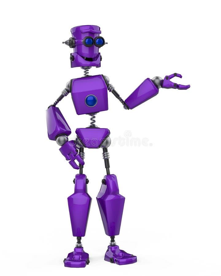 Historieta púrpura divertida del robot que muestra en un fondo blanco ilustración del vector
