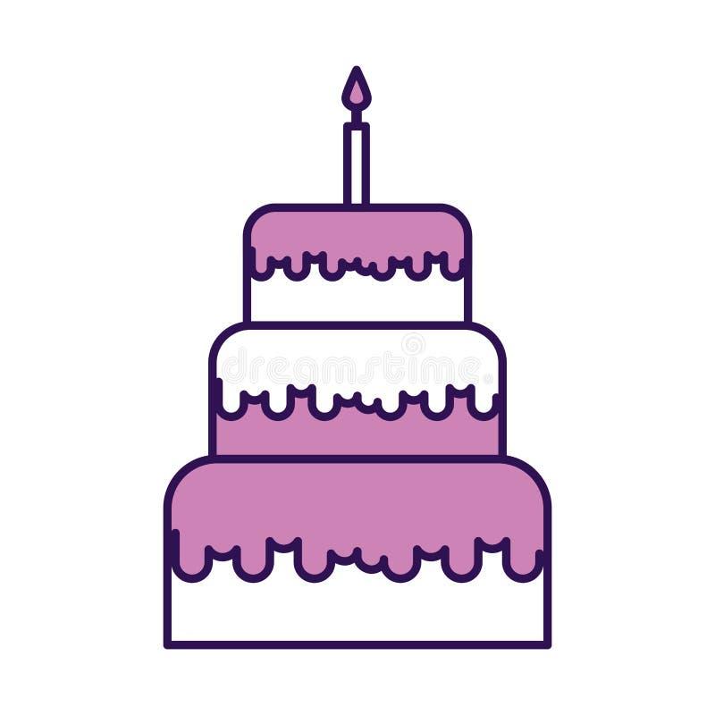 Historieta púrpura linda de la torta de cumpleaños ilustración del vector