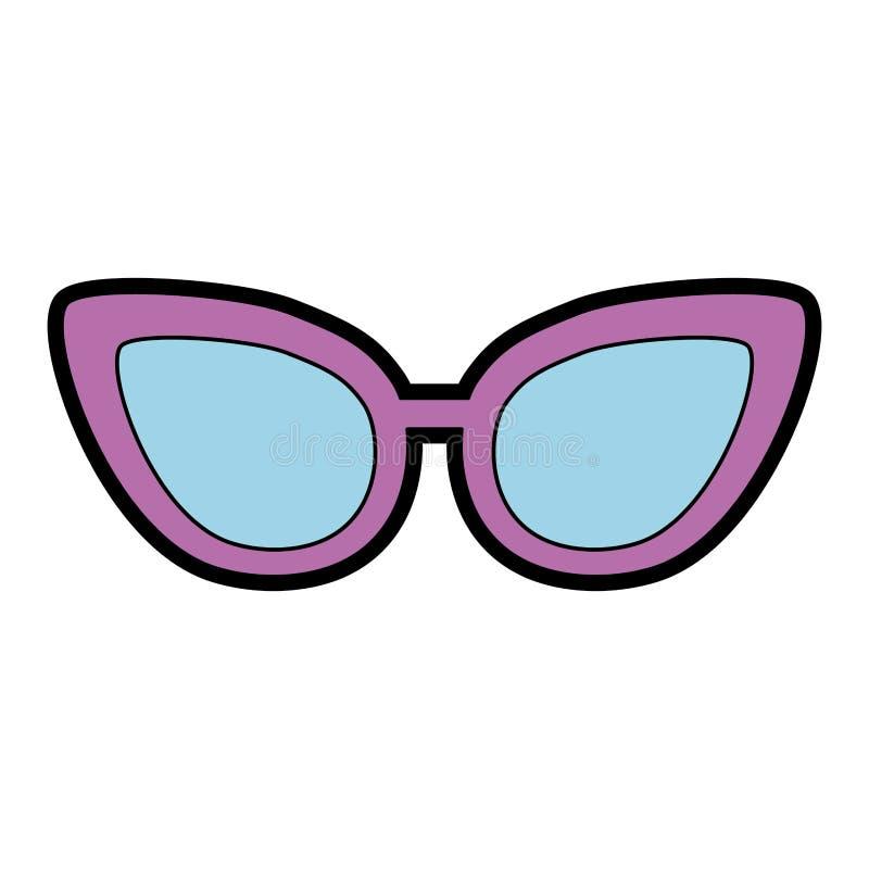Historieta púrpura linda de los vidrios stock de ilustración