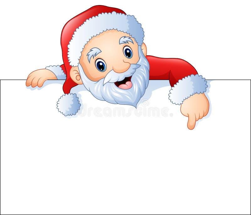 Historieta Papá Noel que señala en una muestra en blanco stock de ilustración