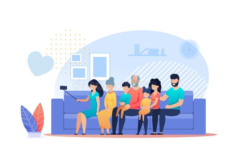 Historieta plana de la familia del vector feliz de Selfie en casa ilustración del vector