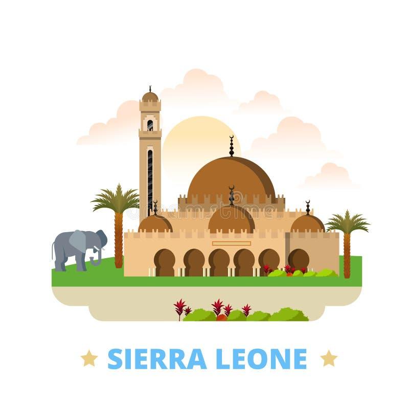 Historieta plana de la plantilla del diseño del país del Sierra Leone libre illustration
