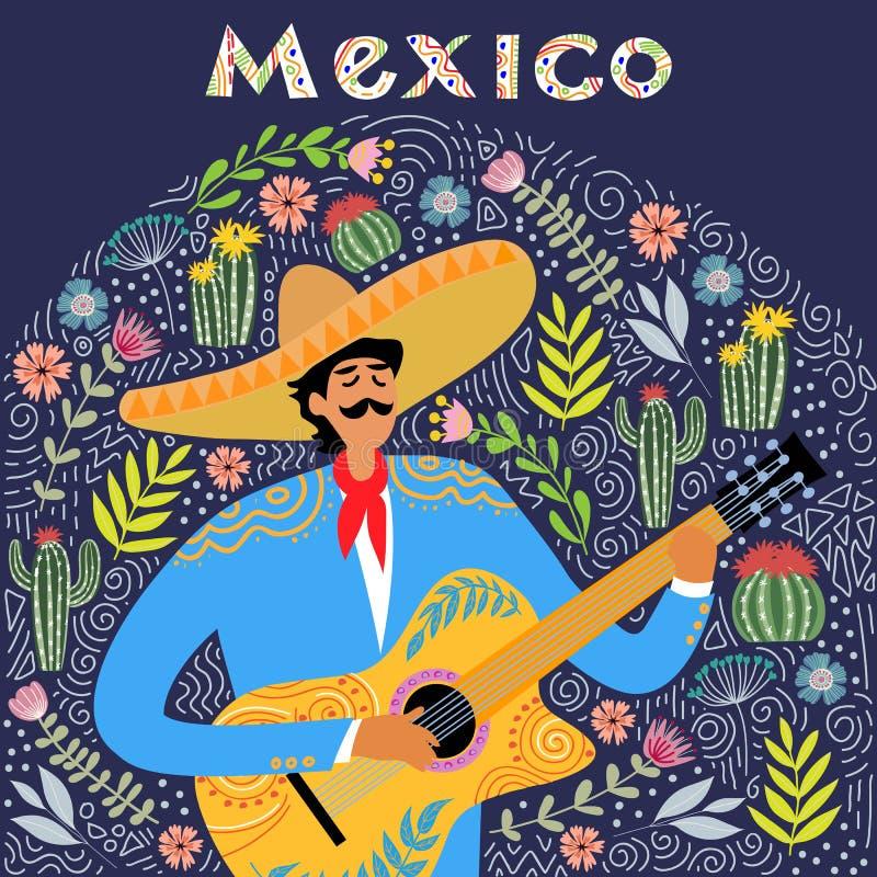 Historieta plana de un hombre mexicano que toca la guitarra en el sombrero, mano que dibuja vector plano popular de los garabatos ilustración del vector