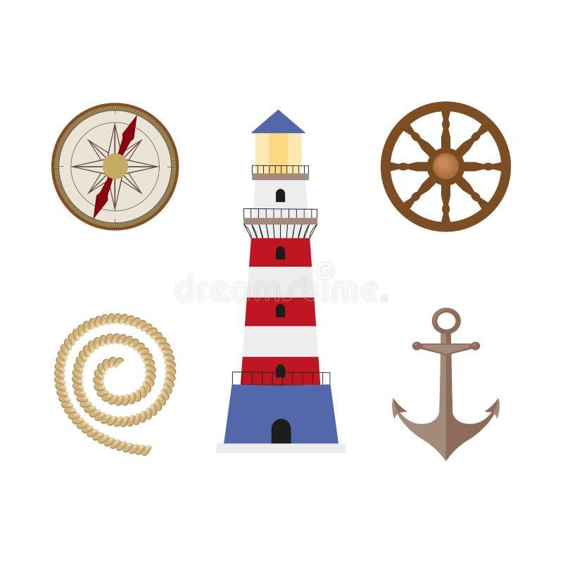 Historieta plana náutica, sistema de Vecotr de símbolos marino stock de ilustración