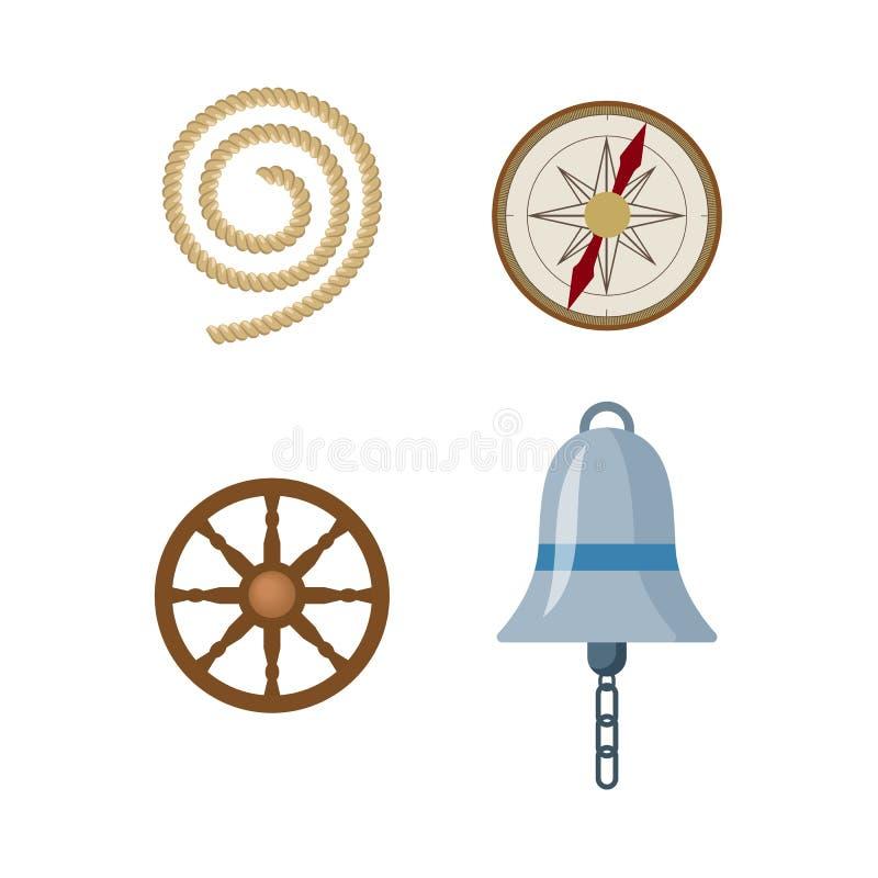 Historieta plana náutica, sistema de Vecotr de símbolos marino ilustración del vector
