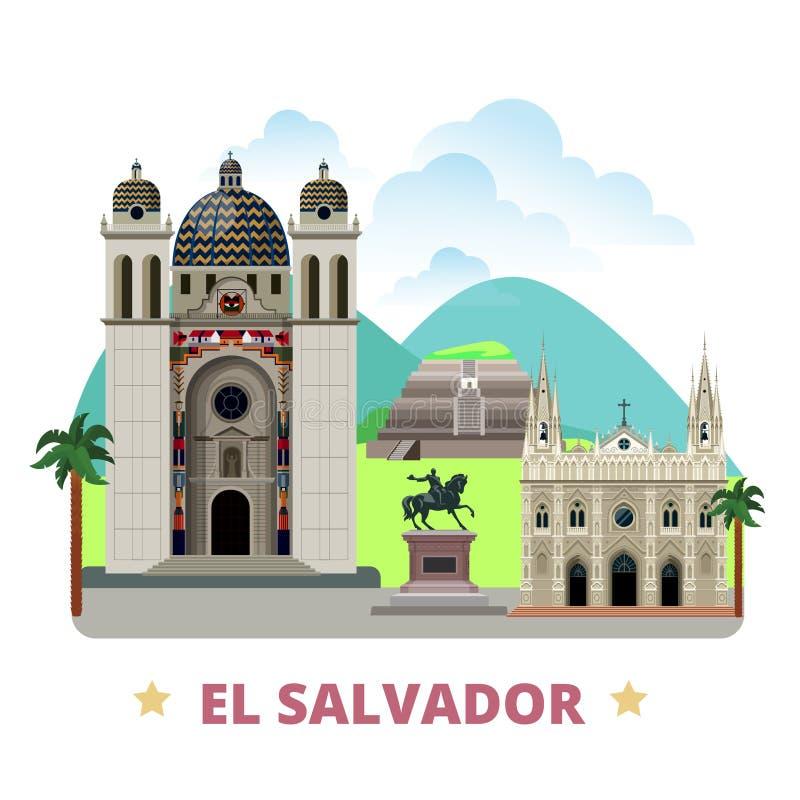 Historieta plana s de la plantilla del diseño del país de El Salvador stock de ilustración