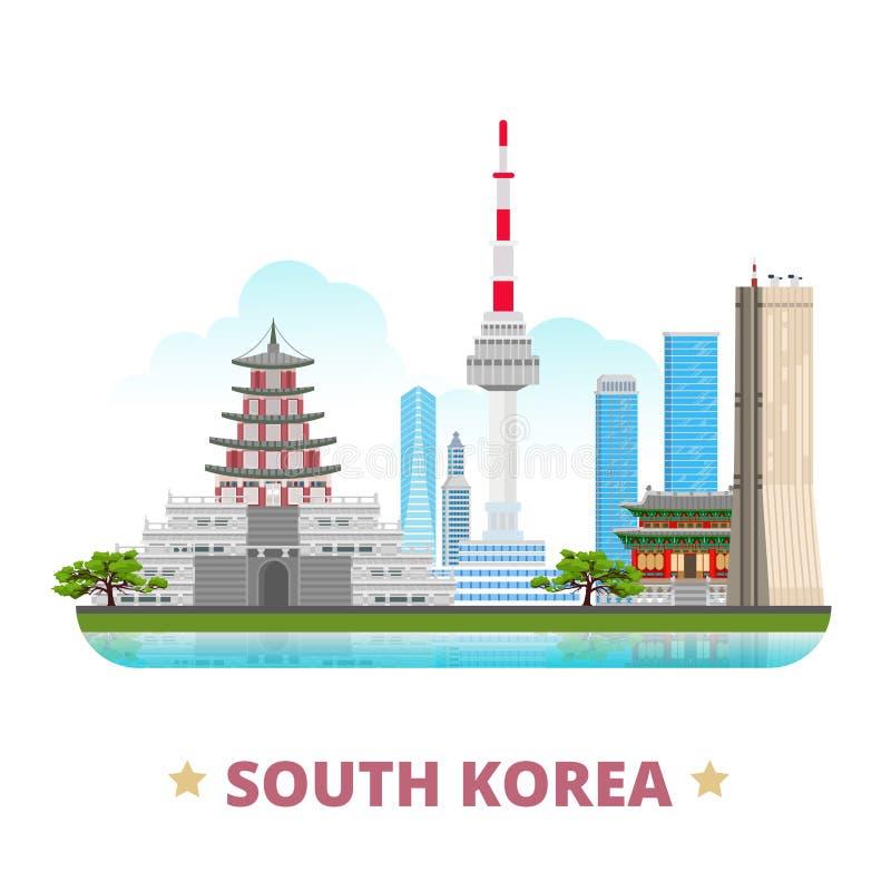 Historieta plana s de la plantilla del diseño del país de la Corea del Sur stock de ilustración