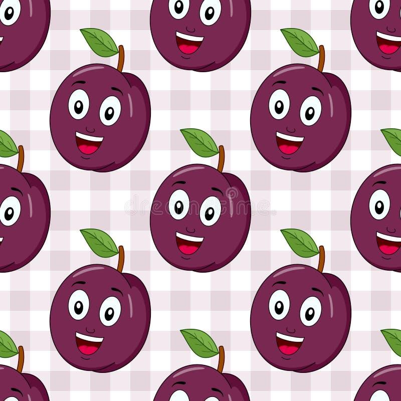 Historieta Plum Seamless Pattern feliz stock de ilustración