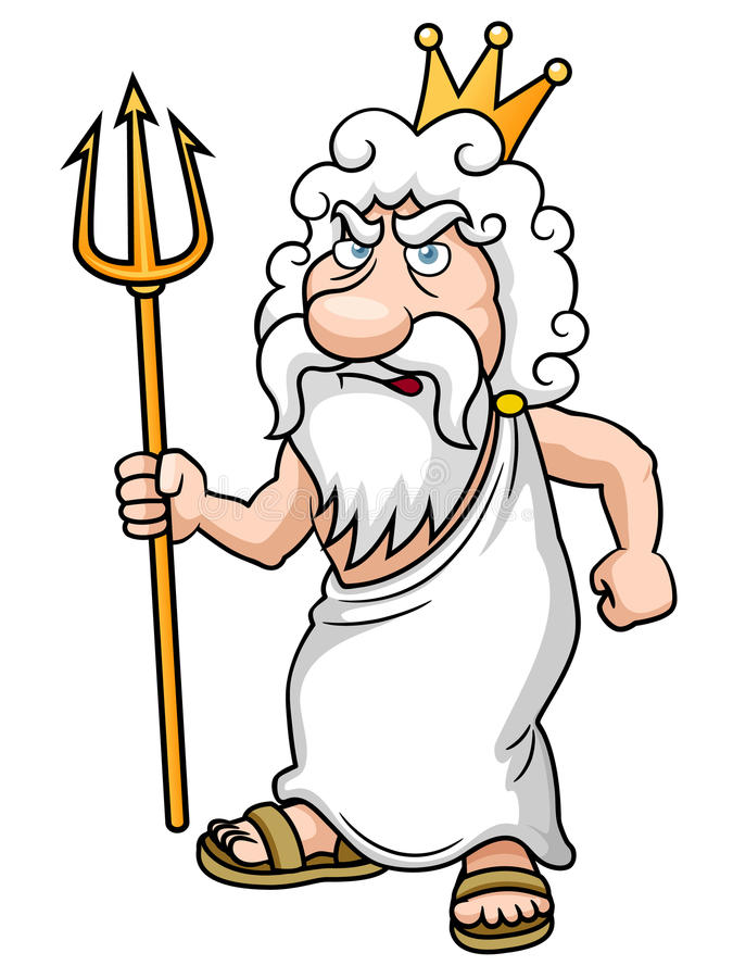 Historieta Poseidon con Trident stock de ilustración