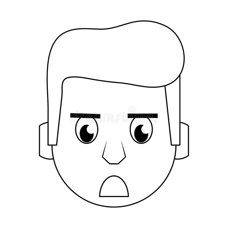 Historieta principal del carácter de la cara del hombre en blanco y negro ilustración del vector