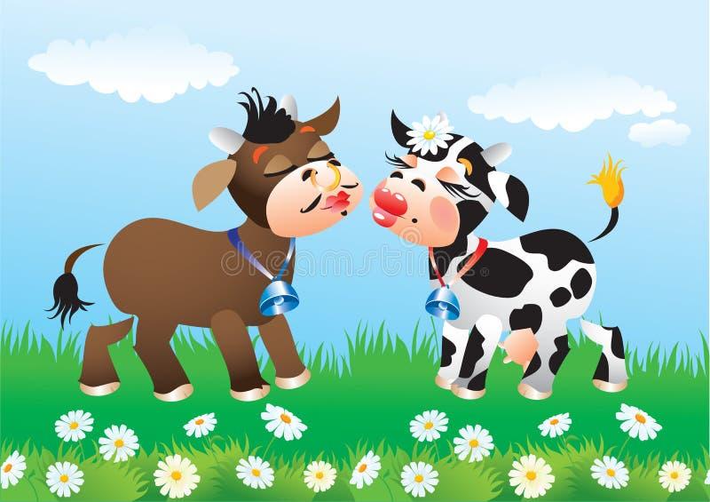 Historieta que besa vacas en amor stock de ilustración